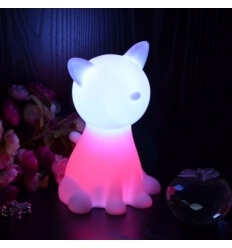 Lámpara de mesa - gato LED sin cuerda recargable multicolor
