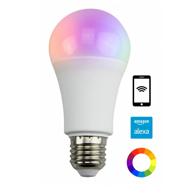 Color ajustable bombilla LED E27 con control remoto Alexa