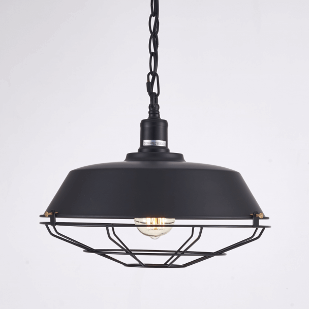 Suspension industrielle noire quadrillage - Phoenix