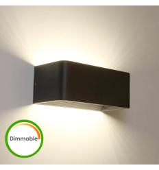 Lámpara de pared LED negra con dimmer - Quadra